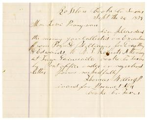 Primary view of object titled '[Letter from Thomas Willis, J. P. to Levi Perryman, September 26, 1879]'.