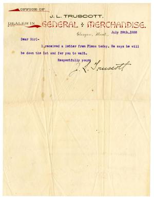 Primary view of object titled '[Letter from J. L. Truscott, July 28, 1893]'.