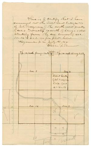 Primary view of object titled '[Land survey by Oscar R. Tanner of Bob Perryman's Land, July 1, 1904]'.