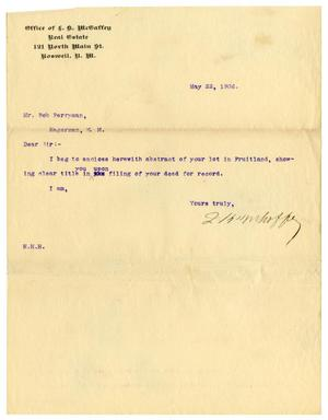Primary view of object titled '[Letter from L. K. McGaffey to Bob Perryman, May 22, 1906]'.