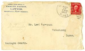 [Envelope from Emmett Patton to Levi Perryman, August 17, 1908]