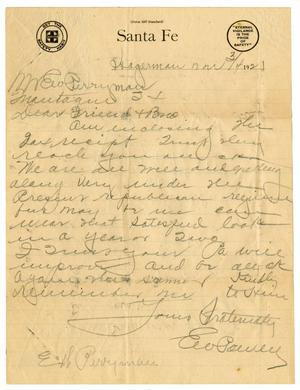 Primary view of object titled '[Letter from E. W. Powell to Levi Perryman, March 4, 1921]'.