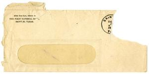 Primary view of object titled '[Envelope for letter from The First National Bank]'.