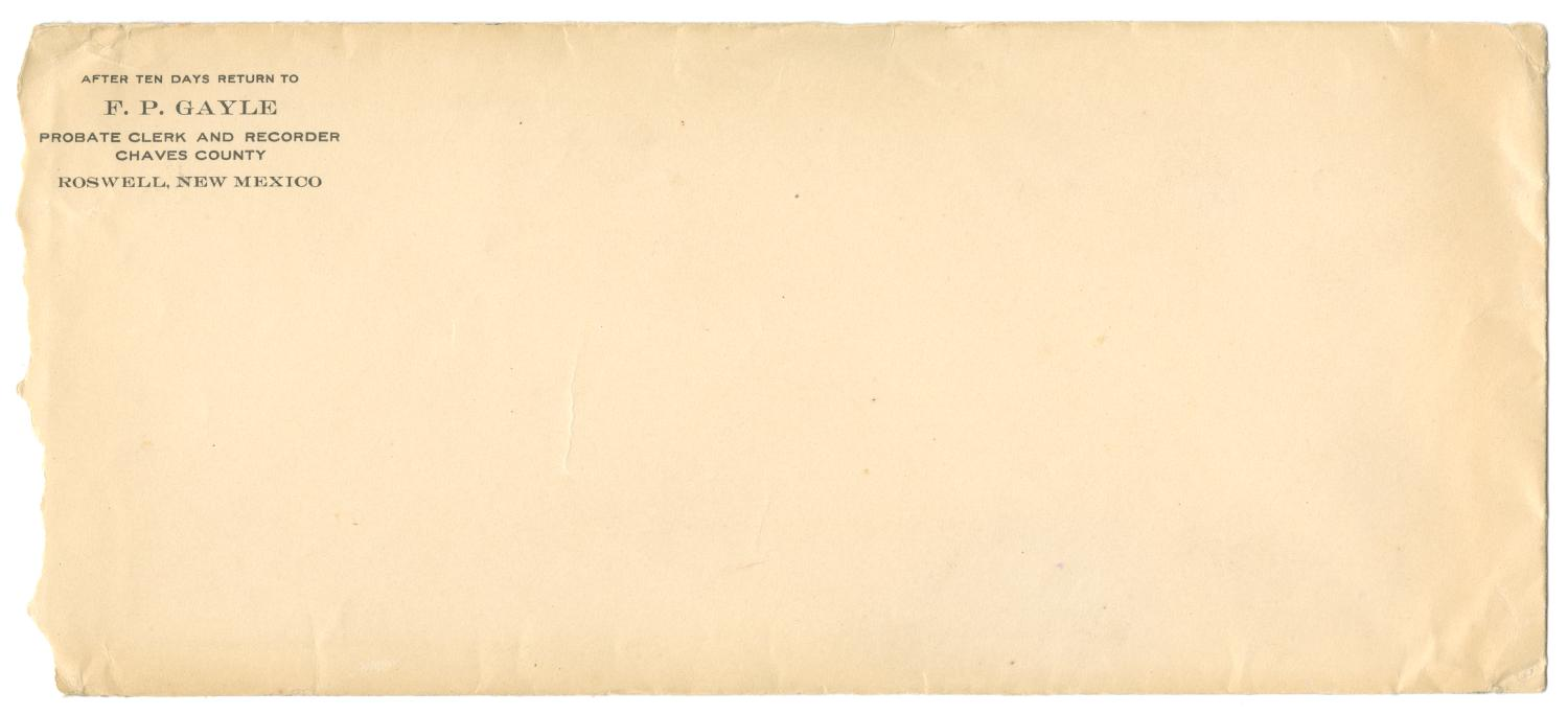 [Envelope for letter from F.P. Gayle]                                                                                                      [Sequence #]: 1 of 2