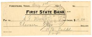 [Check from Mrs. H. B. Caddell to A. F. Moore, August 1, 1921]