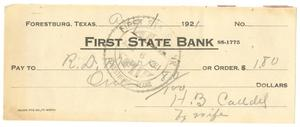 Primary view of object titled '[Check from Mrs. H. B. Caddell to R. D. Marrs, August 1, 1921]'.
