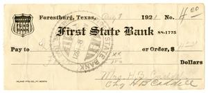 [Check from Mrs. H. B. Caddell to Ileta Petty, August 8, 1921]