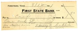 Primary view of object titled '[Check from Harry Caddell for cash, August 12, 1921]'.