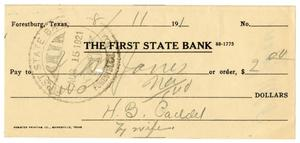[Check from Mrs. H. B. Caddell to J. M. Jones, August 11, 1921]