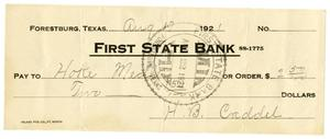 [Check from H.B Caddell to Hoke Medley, August 17, 1921]