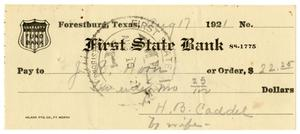 Primary view of object titled '[Check from Mrs. H. B. Caddell to J. R. Hoon, August 17, 1921]'.