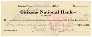 [Check from Levi Perryman to A.D Lunn, October 18, 1914]