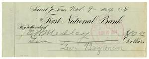 Primary view of object titled '[Check from Levi Perryman to E. H. Medley, November 9, 1914]'.