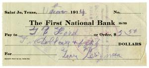 Primary view of object titled '[Check from Levi Perryman to L. B. Hord, November 11, 1914]'.