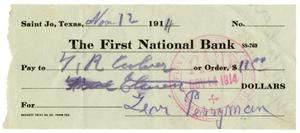 Primary view of object titled '[Check from Levi Perryman to T.R. Culver, November 12, 1914]'.