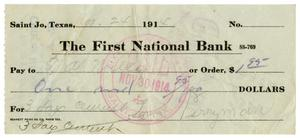 [Check from Levi Perryman to T.A Wiley, November 21, 1914]