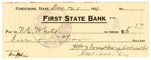 [Check from Forestburg School Board, December 21, 1921]