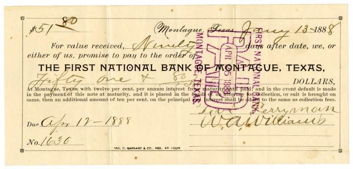 Promissory Note From The First National Bank Of Montague