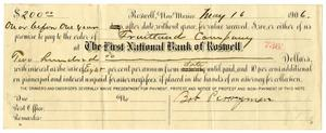 Primary view of object titled '[Promissory Note for Bob Perryman, May 16, 1906]'.