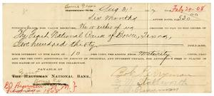 [Bank Note for Bob Perryman, August 31, 1907]