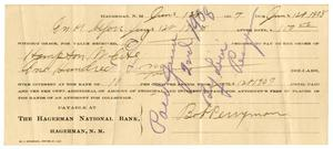 [Check from Bob Perryman to Hampton White, June 1, 1907]