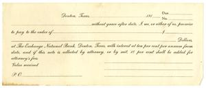 [Blank Check for The Exchange National Bank, Denton, Texas]