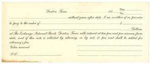 Primary view of object titled '[Blank Check for The Exchange National Bank, Denton, Texas]'.