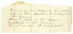 Primary view of object titled '[Receipt from Levi Perryman, October 11,1875]'.