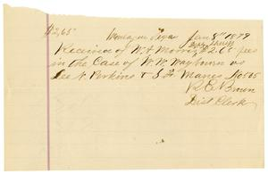 Primary view of object titled '[Receipt from R. E. Brown to W. A. Morris, January 8, 1879]'.