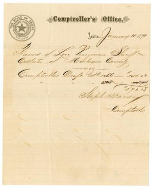 Primary view of object titled '[Receipt from Stephen H. Darden  to Levi Perryman, January 10, 1879]'.