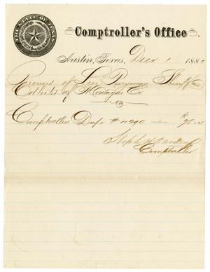 Primary view of object titled '[Comptroller's Office Document, December 1, 1880]'.