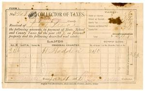Primary view of object titled '[Receipt for taxes paid, January 4, 1889]'.