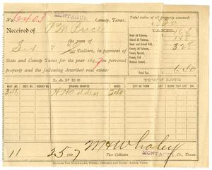 Primary view of object titled '[Receipt for payment of taxes, November 25, 1897]'.