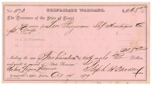 Primary view of [Triplicate Warrant, October 14, 1879]