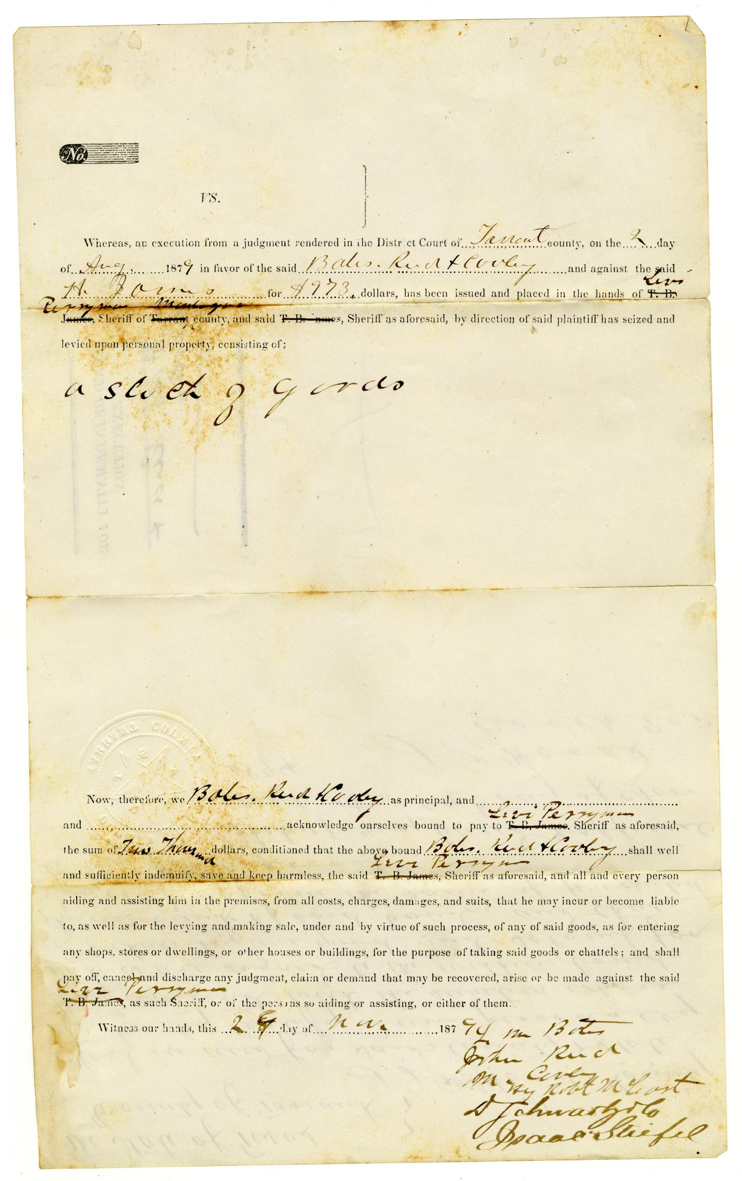 [Bond of Indemnity for Execution, August 2, 1879]                                                                                                      [Sequence #]: 1 of 2