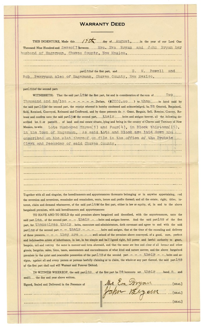 Warranty Deed, August 17, 1907] - The Portal To Texas History