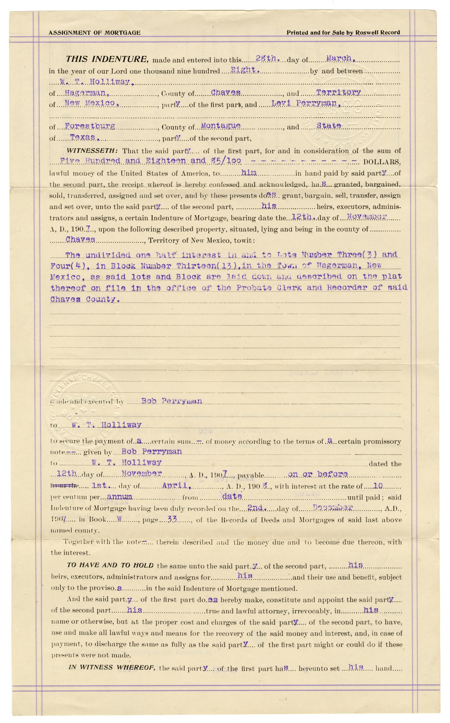 [Assignment of mortgage, March 28, 1908]                                                                                                      [Sequence #]: 1 of 2