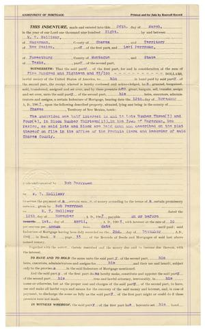 Primary view of object titled '[Assignment of mortgage, March 28, 1908]'.