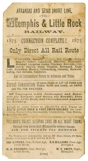 Primary view of object titled '[Advertisement Card for the Memphis and Little Rock Railway, 1875]'.