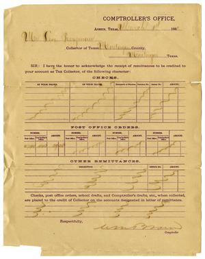 Primary view of object titled '[Receipt to Levi Perryman from Comptroller's Office, March 1, 1881]'.