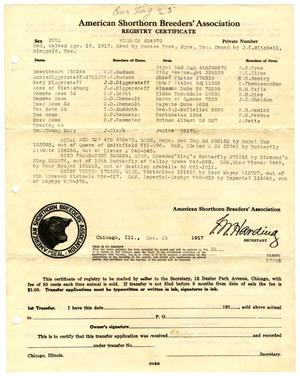 Primary view of object titled '[American Shorthorn Breeders' Association Registry Certificate, December 13, 1917]'.