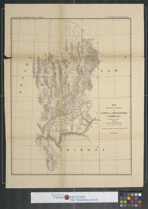 Map prepared to accompany the lists of distances, camps, etc. : Field Season of 1872 / 1st Lieut. Geo. M. Wheeler, Corps of Engineers in charge.