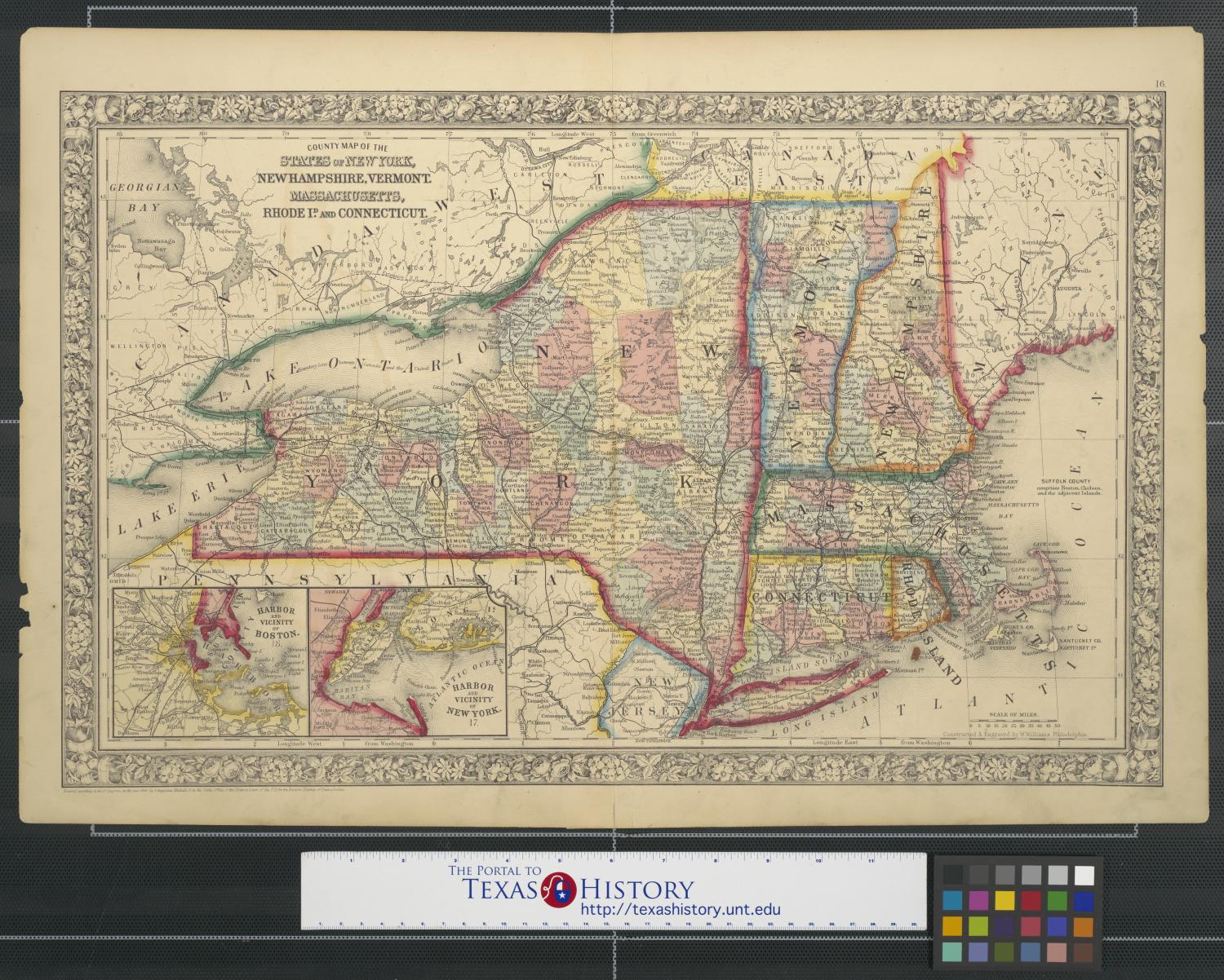 County Map Of The States Of New York New Hampshire Vermont - Map of vermont and new hampshire