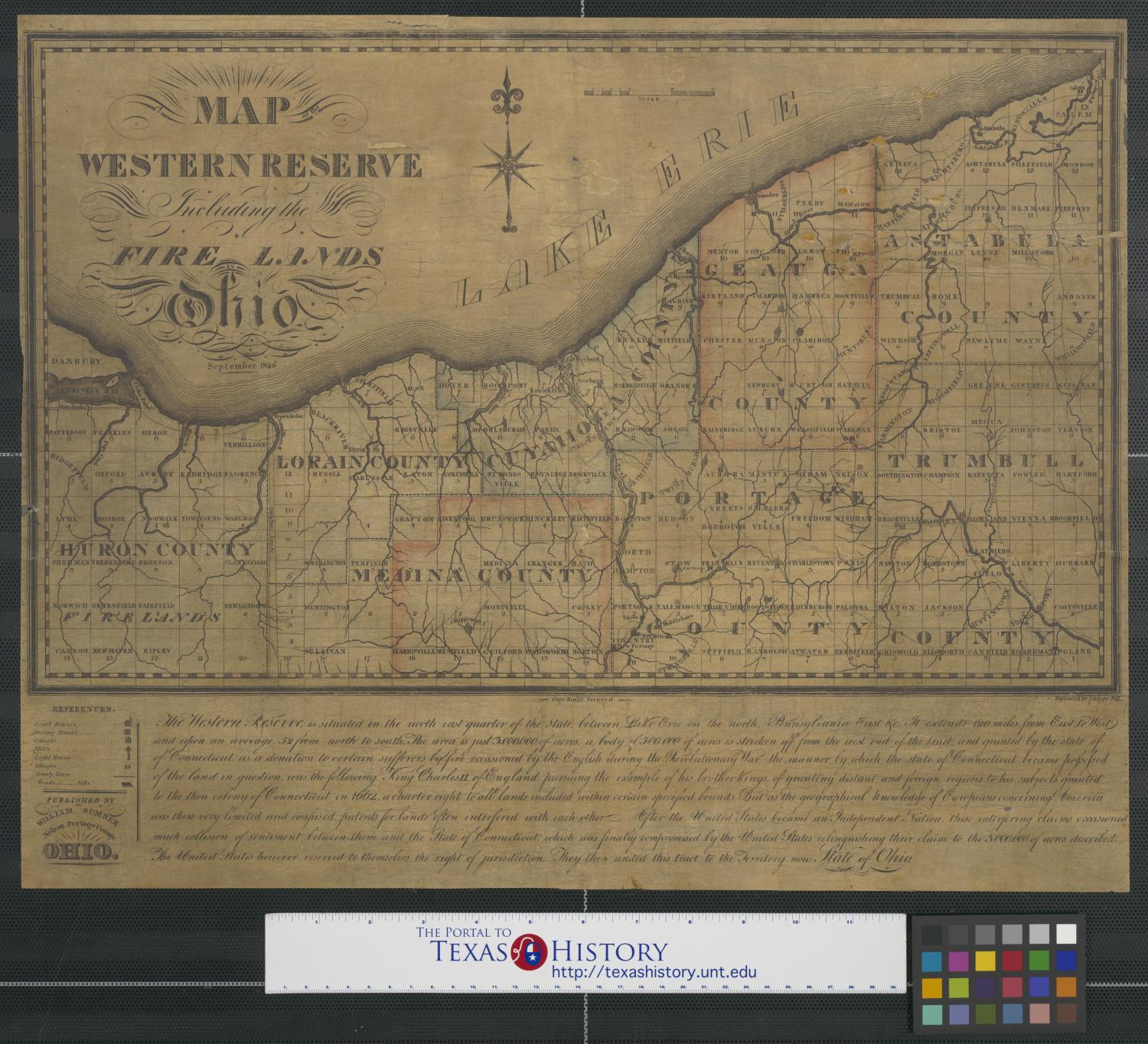 A map of the Western Reserve including the Fire Lands in ...