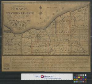 Primary view of object titled 'A map of the Western Reserve including the Fire Lands in Ohio, September 1826.'.