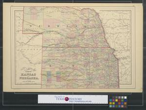 Primary view of object titled 'County & township map of the states of Kansas and Nebraska.'.