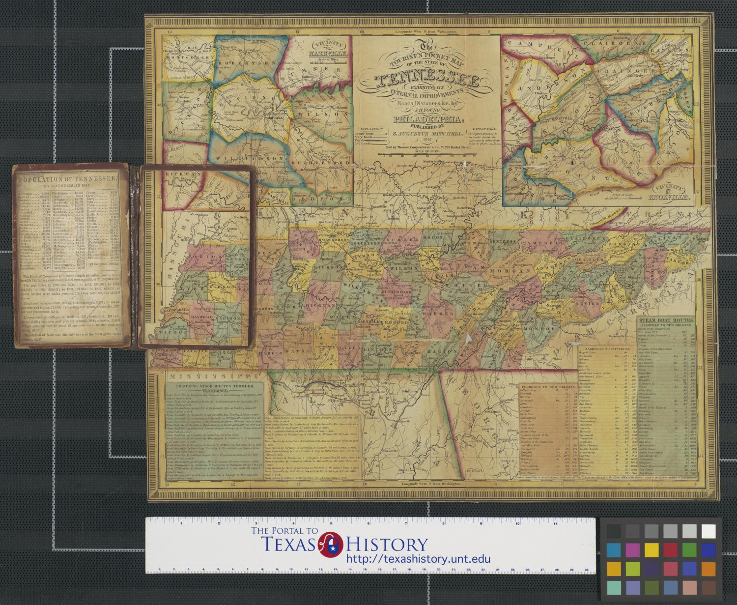 The tourist's pocket map of the state of Tennessee exhibiting its internal improvements, roads, distances, &c.                                                                                                      [Sequence #]: 1 of 2