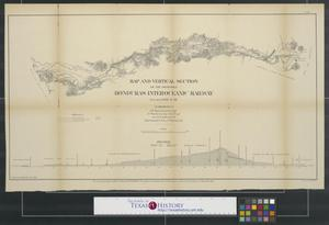 Primary view of object titled 'Map and vertical section of the proposed Honduras Interoceanic Railway.'.