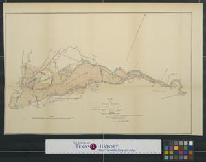 Primary view of object titled 'Map of Yuba River: showing the flooded lands adjacent thereto and the impounding reservoir of mining detrities'.