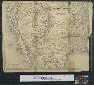 Primary view of object titled 'General map showing the countries explored & surveyed by the United States & Mexican Boundary Commission in the years 1850, 51, 52 & 53 under the direction of John R. Bartlett, U.S. Commissioner.'.
